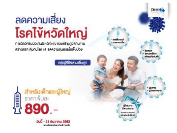โปรแกรมวัคซีนป้องกันไข้หวัดใหญ่ 4 สายพันธุ์ 1 เข็ม ราคา 890 บาท